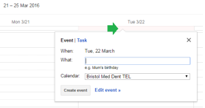 Click in the 'header' area of the calendar to create an all day event