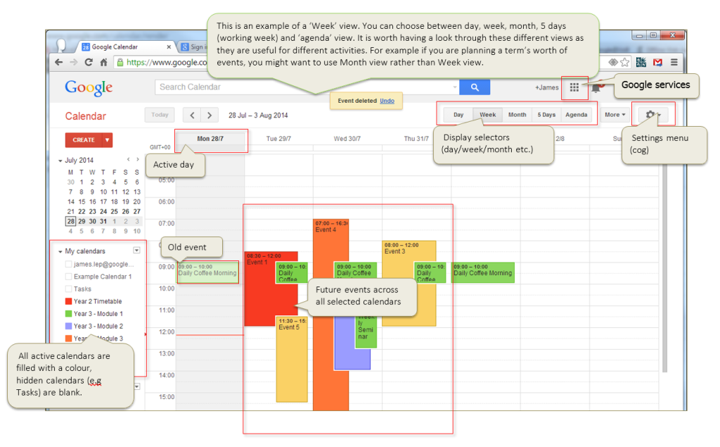 This screenshot shows the main components of the Google Calendar interface.