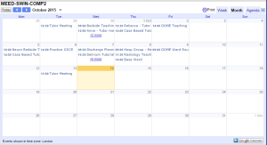 An example of a calendar viewed via the HTML link in a web browser.