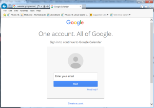 Google Calendar Login Screen