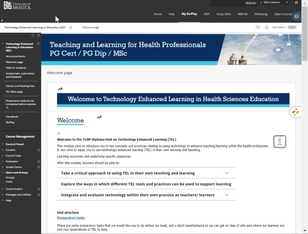 Screenshot of the welcome screen of the Blackboard course.